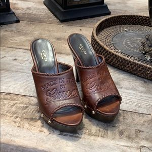 Gucci wooden heel  mules/clogs size 38